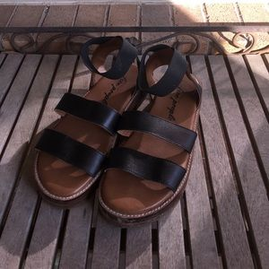 Free People Black Chunky Ankle Strap Sandals